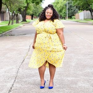 Loft Yellow Floral Wrap Dress